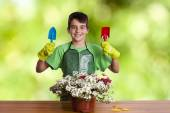 Child with garden plants — Stock Photo