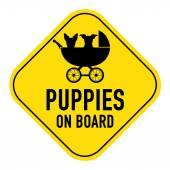Dogs on board sign — Stock Photo