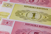 Different Tolar banknotes from Slovenia on the table — Stock Photo
