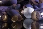 Close-up of a roll 35 mm photographic films and golf ball — Stock Photo