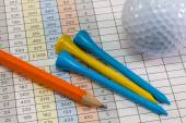 Golf score card and golf equipments — Stock Photo