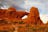 Tourists  in Arches National Park, Moab, USA - HDR Image — Stock Photo