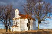 Repaired small church on a hill in Neprobylice — Stock Photo
