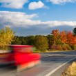 Speed car on a road in Krkonose mountain — Stock Photo #67836445