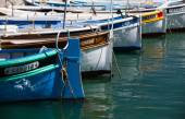 Typical colorful fishing boats in the harbor at Marseille. — Stock Photo