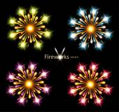 Fireworks four color stars vector component — Stock Vector
