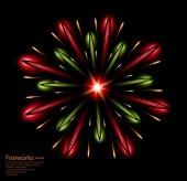 Fireworks flower red green vector — Stock Vector