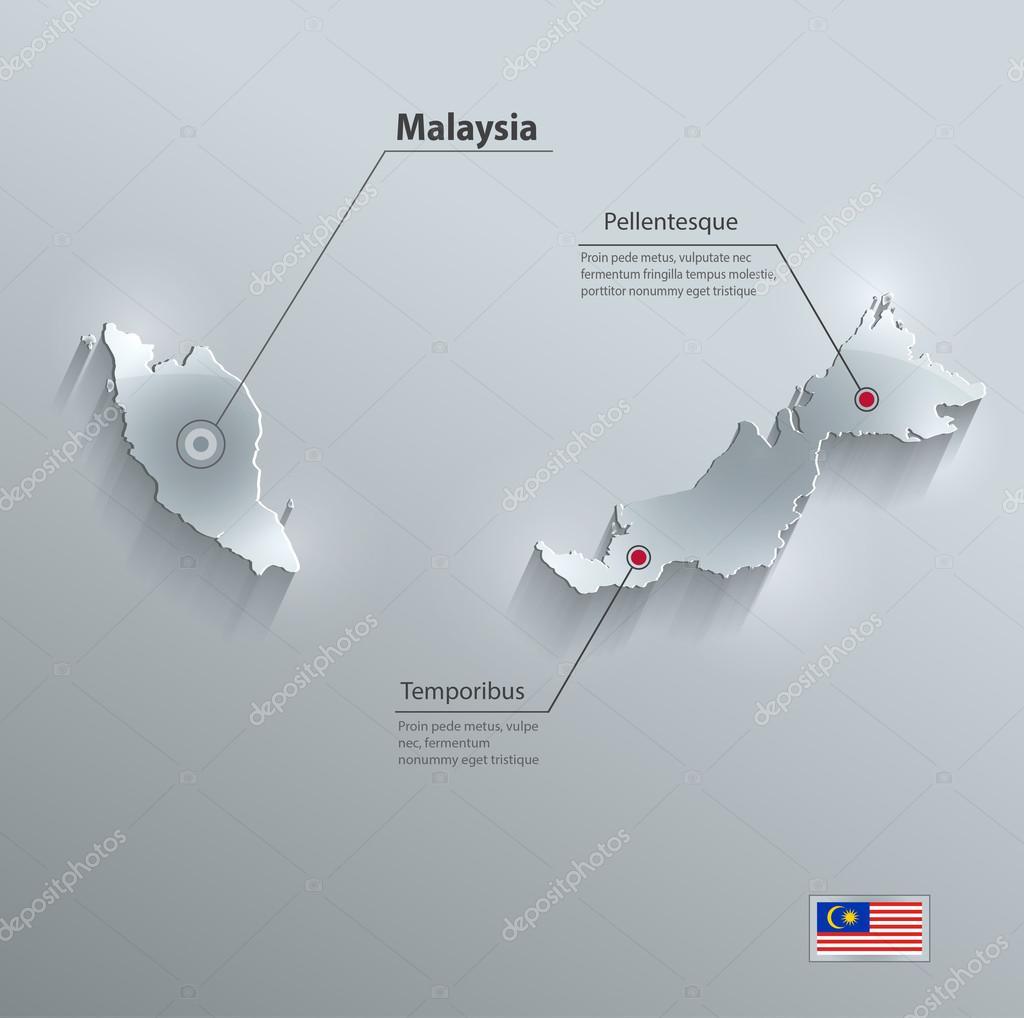 马来西亚地图国旗玻璃卡纸