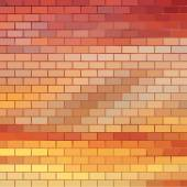 Sundown themed background with brick grid — Stock Vector