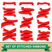 Set of bent ribbons with seam — Stock Vector