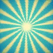 Vintage card with halftone sun rays — Stok Vektör