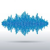 Sound waveform made of chaotic balls — Stock Vector