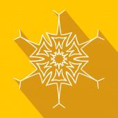 Long shadow filigree snowflake icon — Stock Vector