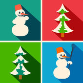Christmas long shadow icons — Vector de stock