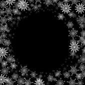 Rechthoekig frame met kleine sneeuwvlokken — Stockvector