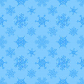 Seamless Christmas blue pattern with drawn snowflakes — Stock Vector