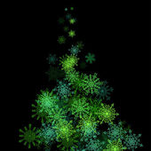 Christmas tree made of snowflakes blizzard in the darkness — Stock Vector