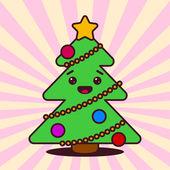 Рождественская елка kawaii с улыбчивым лицом — Cтоковый вектор