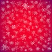 Röd jul bakgrund med olika snöflingor — Stockvektor