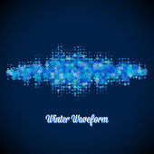 Christmas music waveform made of different scattered snowflakes — Stock Vector
