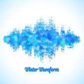 Christmas music waveform made of different scattered snowflakes — Wektor stockowy