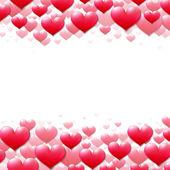 Alla hjärtans dag-kort med spridda lila hjärtan — Stockvektor