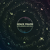 Retro futuristic frame with space, stars and planets — Stock Vector