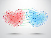 Couple of connected hearts — Vector de stock