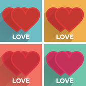 Set of flat typographic Valentines Day labels with long shadow hearts couples — Stock Vector