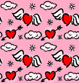 Pattern with hearts and clouds — Vector de stock