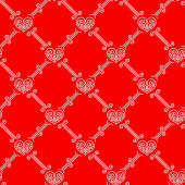 Ornamental seamless pattern with hearts — Stock Vector
