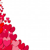 Valentines Day card with scattered hearts — Stock Vector