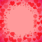 Valentines Day square frame with scattered bokeh hearts — Vector de stock