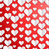 Valentines Day background with paper hearts  — Vector de stock
