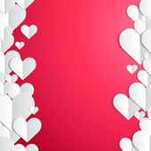 Valentines Day frame with lines of paper hearts — Vecteur