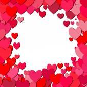 散乱の心バレンタインデー正方形のフレーム — ストックベクタ