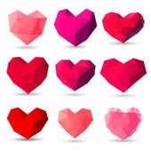 Set of heart gem symbols — Stock Vector