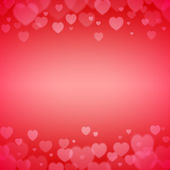 Valentines Day frame with scattered bokeh hearts — Stock Vector
