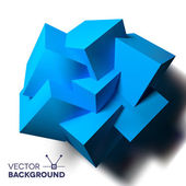 Abstract background with overlapping blue cubes — Stock Vector