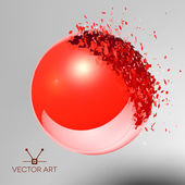 Red 3D ball exploded into pieces — Stock Vector