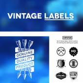 Vintage premium labels set on tile structured layout and blurred background — Stock Vector
