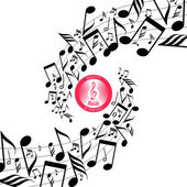 Messy scattered music notes on stave — Stock Vector