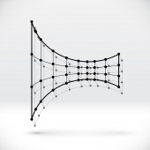 Abstract 3D wireframe shape with connected structure — Wektor stockowy