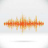 Sound waveform made of scattered balls — Stock Vector