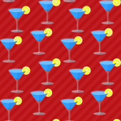 Seamless flat pattern with cocktail glasses — Stock Vector