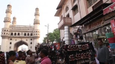 Straatmarkt Charminar, Hyderabad — Stockvideo