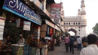 Street markets Charminar, Hyderabad — Stock Video