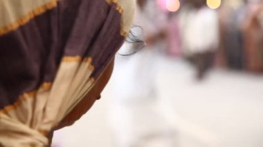 Village People at street Market — Stock Video