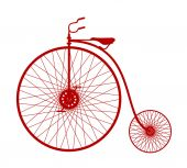 Silhouette of vintage bicycle in red design — Stock Vector