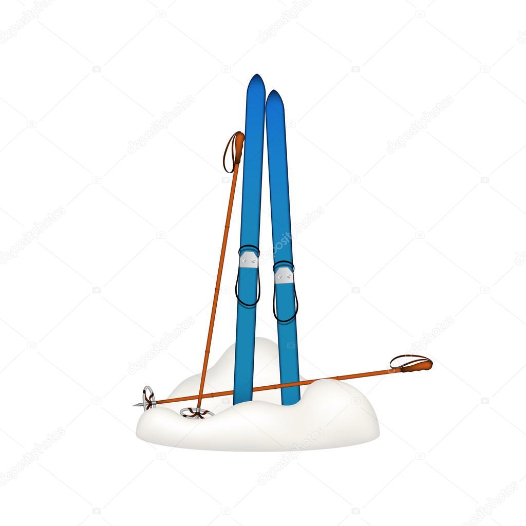 木制旧滑雪板和老滑雪杖,站在白色背景上的雪— vector by jirka